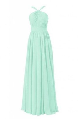 Natural Waist Ruched Halter Floor Length A-Line Bridesmaid Dress