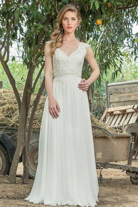 Lace Fabric Floor Length A-Line Short Sleeves V-Neck Wedding Dress