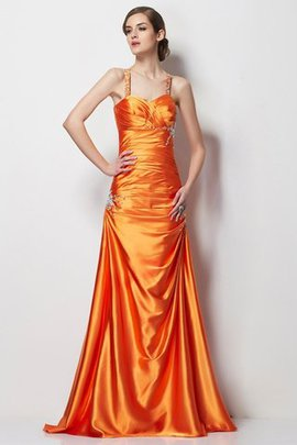 Lace-up Beading Princess Elastic Woven Satin Spaghetti Straps Evening Dress