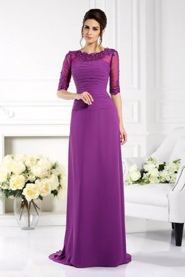 Chiffon Appliques Sheath Long Sweep Train Mother Of The Bride Dress