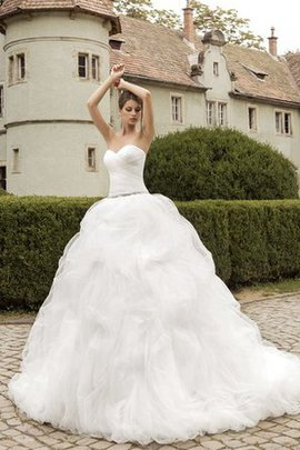 A-Line Cascading Ruffle Crystal Sweetheart Floor Length Wedding Dress