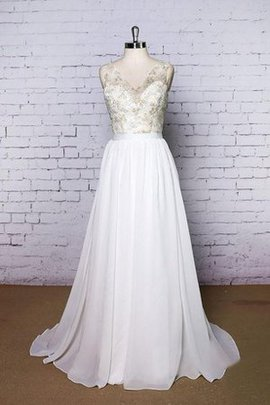 Floor Length V-Neck Lace Chiffon Pleated Wedding Dress