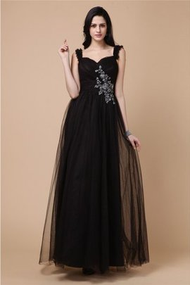 Beading Wide Straps A-Line Natural Waist Prom Dress