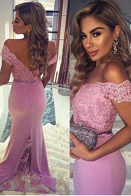 Off The Shoulder Lace Sheath Satin Sleeveless Prom Dress