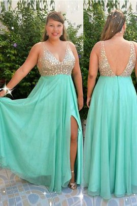 Chiffon Princess Sleeveless V-Neck Beading Prom Dress