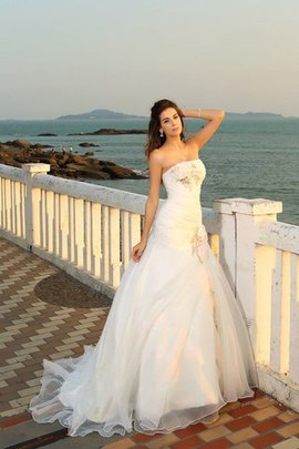 Ball Gown Beach Strapless Empire Waist Lace-up Wedding Dress