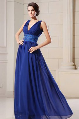 V-Neck Empire Waist Chiffon Beading A-Line Evening Dress