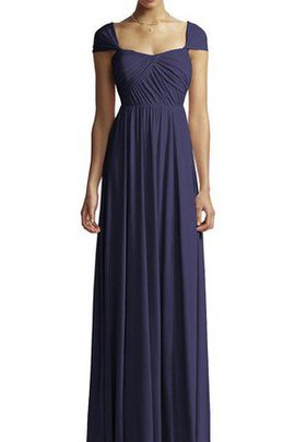 A-Line Ruched Long Capped Sleeves Square Bridesmaid Dress