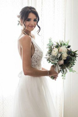 Beach Natural Waist Distinctive Tulle Sweep Train Simple Outdoor Wedding Dress