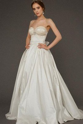 Floor Length Bow Taffeta Zipper Up A-Line Wedding Dress