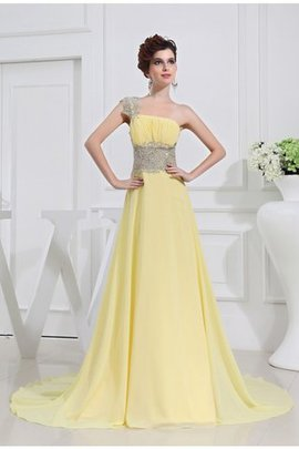 Princess Beading Appliques Chiffon One Shoulder Prom Dress