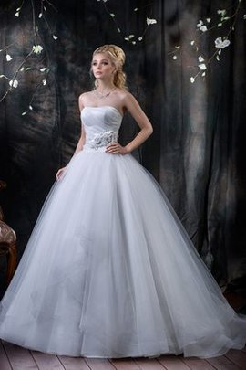 Long Ball Gown Lace-up Sleeveless Tiered Wedding Dress