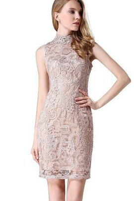 Sleeveless Sheath Natural Waist Short Lace Bridesmaid Dress