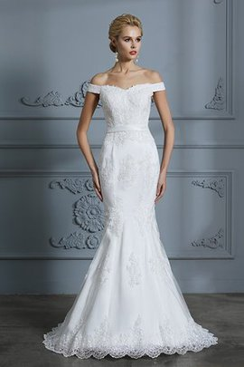 Romantic Sweep Train Off The Shoulder Zipper Up Excellent Chic & Modern Wedding Dress