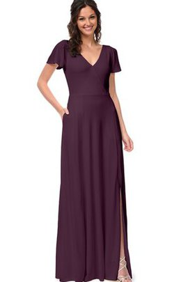 Chiffon A-Line V-Neck Short Sleeves Bridesmaid Dress
