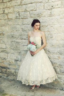 Informal & Casual Ankle Length Lace Fabric A-Line Wedding Dress