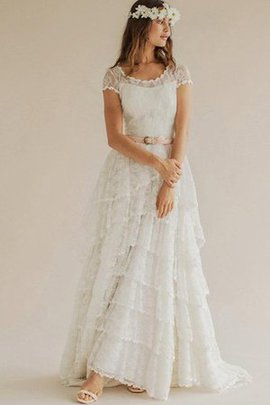 Scoop Elegant & Luxurious Tulle Capped Sleeves Modest Wedding Dress