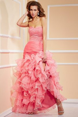 Lace-up Sweetheart High Low Ruffles Mermaid Evening Dress