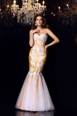 Sweetheart Appliques Floor Length Zipper Up Sleeveless Evening Dress