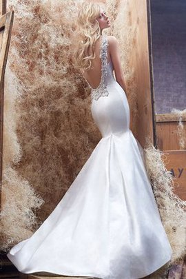 Deep V-Neck Appliques Satin Dropped Waist Sleeveless Wedding Dress