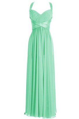 Sleeveless Chiffon Deep V-Neck Halter Bridesmaid Dress