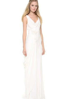 Asymmetrical Pleated V-Neck Sleeveless Zipper Up Wedding Dress