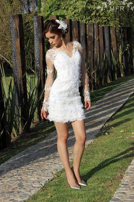 V-Neck Lace Sheath Long Sleeves Embroidery Wedding Dress