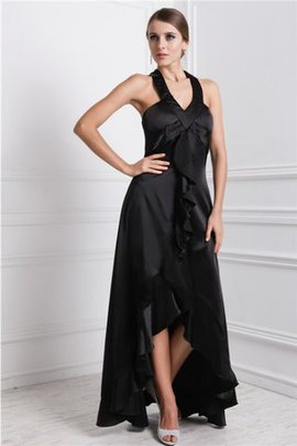 Silk Like Satin Princess High Low Bateau Ruffles Prom Dress