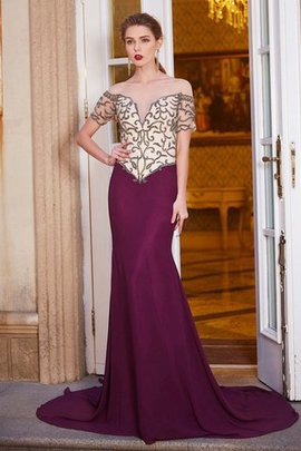 Short Sleeves Natural Waist Chiffon Beading Court Train Evening Dress