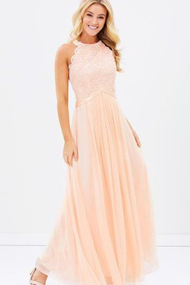 Lace A-Line Jewel Elegant & Luxurious Sleeveless Bridesmaid Dress