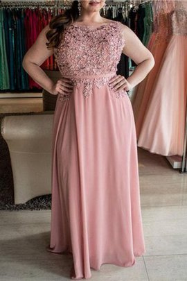 Beading Natural Waist Chiffon Princess Plus Size Prom Dress