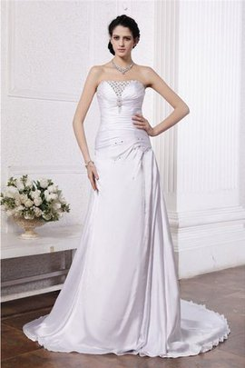 Silk Like Satin Sleeveless Beading Ruffles Princess Wedding Dress