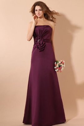 Floor Length Flowers Beading Ruched Sleeveless Bridesmaid Dress