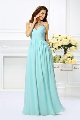 Floor Length Draped Spaghetti Straps A-Line Chiffon Prom Dress