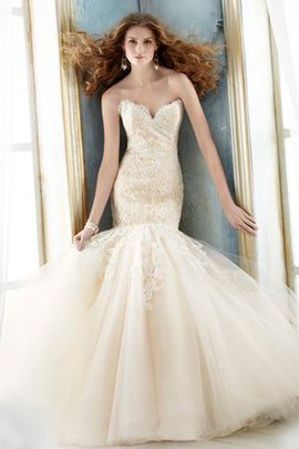 Sleeveless Sweep Train Lace Fabric Spaghetti Straps Tulle Wedding Dress