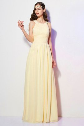Zipper Up A-Line Chiffon Draped Long Bridesmaid Dress