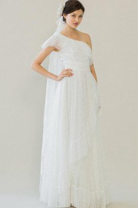 One Shoulder Outdoor Sleeveless A-Line Tulle Wedding Dress