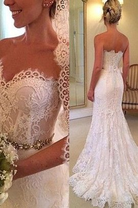 Sweetheart Backless Sheath Exquisite Button Demure Thin Wedding Dress