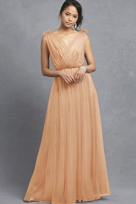 Tulle A-Line Criss-Cross Ruched Bridesmaid Dress