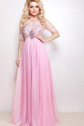 High Neck Pleated Chiffon Empire Waist Sweep Train Prom Dress