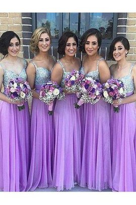 Sequins Natural Waist Chiffon A-Line Floor Length Bridesmaid Dress