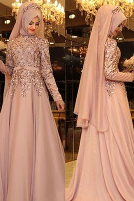 High Neck Floor Length A-Line Natural Waist Princess Eye-catching Evening Dress