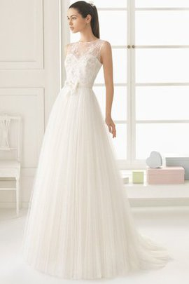 Sweep Train Church Natural Waist Simple Sheer Back Wedding Dress
