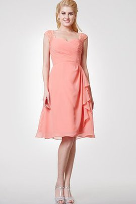 Chiffon Ruched Short Sleeves Draped Chic & Modern Bridesmaid Dress