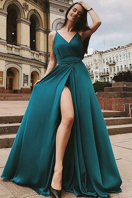 Satin Ruffles Excellent Spaghetti Straps Natural Waist Wide Straps Princess Prom Dress