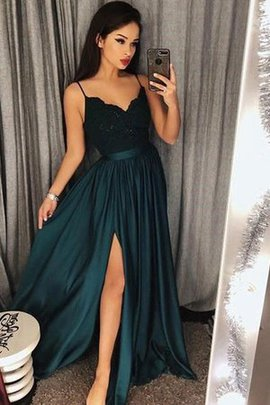 Floor Length Sleeveless Natural Waist Princess Spaghetti Straps Silk Like Satin Prom Dress
