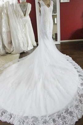Natural Waist Sleeveless Beading Lace Fabric Chapel Train Wedding Dress