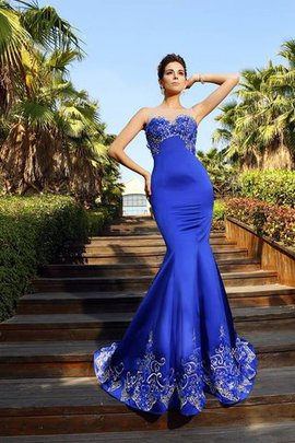 Court Train Empire Waist Sweetheart Satin Zipper Up Prom Dress