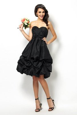Knee Length Taffeta Accented Bow Sweetheart Sleeveless Bridesmaid Dress