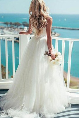 Spaghetti Straps Sexy Sweetheart Tulle Sweep Train Wedding Dress